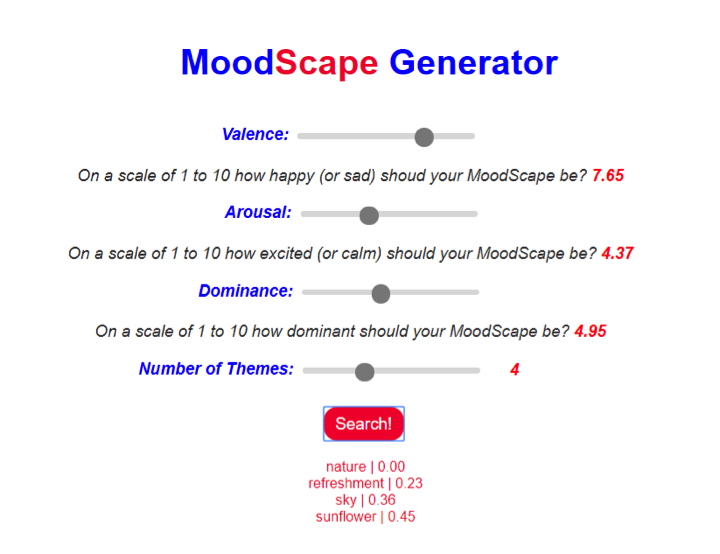 Figure 1: Screenshot of MoodScape Generator 3 with words generated.